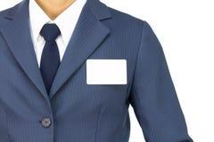 Επαγγελματική κάρτα ραβδιών επιχειρηματιών στο στήθος που απομονώνεται στο άσπρο υπόβαθρο Στοκ φωτογραφία με δικαίωμα ελεύθερης χρήσης