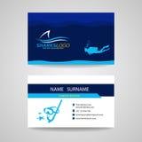 Επαγγελματική κάρτα της κατάδυσης σκαφάνδρων και του μπλε διανυσματικού σχεδίου καρχαριών Στοκ εικόνες με δικαίωμα ελεύθερης χρήσης