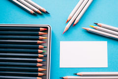 Επαγγελματική κάρτα του ζωγράφου και των μολυβιών Στοκ Εικόνα