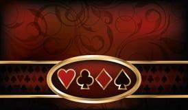 Επαγγελματική κάρτα χαρτοπαικτικών λεσχών με τα στοιχεία πόκερ απεικόνιση αποθεμάτων