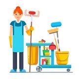 Επαγγελματική καθαρότερη γυναίκα με janitor το κάρρο ελεύθερη απεικόνιση δικαιώματος