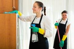 Επαγγελματικοί καθαριστές που πλένουν το διαμέρισμα Στοκ Εικόνες