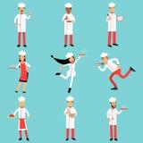 Επαγγελματικοί χαρακτήρες προσωπικού κουζινών στην εργασία Κύριο σύνολο μαγείρων και αρτοποιών ζωηρόχρωμων απεικονίσεων Στοκ φωτογραφία με δικαίωμα ελεύθερης χρήσης