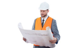 Επαγγελματικός αρσενικός επιχειρηματίας κατασκευής με τα σχεδιαγράμματά του Στοκ φωτογραφία με δικαίωμα ελεύθερης χρήσης