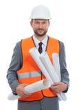 Επαγγελματικός αρσενικός επιχειρηματίας κατασκευής με τα σχεδιαγράμματά του Στοκ εικόνα με δικαίωμα ελεύθερης χρήσης