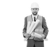 Επαγγελματικός αρσενικός επιχειρηματίας κατασκευής με τα σχεδιαγράμματά του Στοκ φωτογραφίες με δικαίωμα ελεύθερης χρήσης