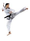 Επαγγελματικός θηλυκός karate μαχητής που απομονώνεται επάνω Στοκ εικόνα με δικαίωμα ελεύθερης χρήσης