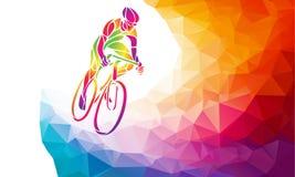 Επαγγελματικός ποδηλάτης που συμμετέχει σε μια φυλή ποδηλάτων Polygonal χαμηλός πολυ απεικόνιση αποθεμάτων