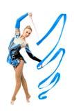 Επαγγελματικός gymnast με την κορδέλλα Στοκ εικόνες με δικαίωμα ελεύθερης χρήσης