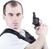 Επαγγελματικό άτομο με το πυροβόλο όπλο Στοκ Φωτογραφίες