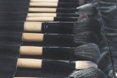 Επαγγελματικό σύνολο βουρτσών makeup σε περίπτωση δέρματος Στοκ Φωτογραφία