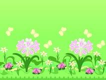 επανάληψη προτύπων λουλουδιών πεταλούδων ελεύθερη απεικόνιση δικαιώματος