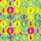 Επανάληψη του υποβάθρου από τους κύκλους και fir-trees ελεύθερη απεικόνιση δικαιώματος