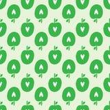 Επανάληψη των σκιαγραφιών των μήλων με τις καρδιές Οργανικό άνευ ραφής σχέδιο φρούτων Στοκ Εικόνα
