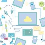 Επανάληψη της διανυσματικής απεικόνισης σχεδίων των συσκευών τεχνολογίας επικοινωνιών απεικόνιση αποθεμάτων