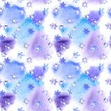 Επανάληψη του χειμερινού σχεδίου με snowflakes στο watercolor κηλίδων απεικόνιση αποθεμάτων