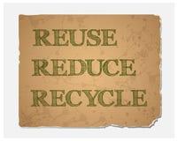 Επαναχρησιμοποίηση-μειώνω-ανακυκλώστε το κείμενο στην ανακυκλωμένη σύσταση εγγράφου ελεύθερη απεικόνιση δικαιώματος