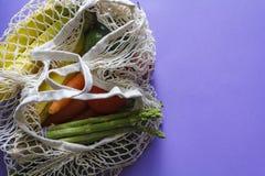 Επαναχρησιμοποιήσιμη τσάντα αγορών με τα φρέσκα παντοπωλεία στοκ εικόνες με δικαίωμα ελεύθερης χρήσης