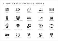 Επαναχρησιμοποιήσιμο εικονίδιο που τίθεται για τη βιομηχανία 4 ελεύθερη απεικόνιση δικαιώματος