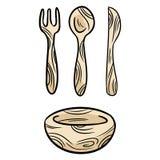 Επαναχρησιμοποιήσιμο σύνολο μπαμπού kithcenware doodles Μηδέν ανακυκλώσιμο επιτραπέζιο σκεύος κουζινών αποβλήτων Φιλικό προς το π διανυσματική απεικόνιση