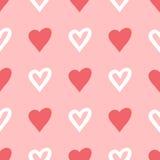Επαναλαμβανόμενες σκιαγραφίες και συρμένη περιγράμματα βούρτσα καρδιών πρότυπο άνευ ραφής Στοκ Εικόνες