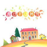 Επαρχία φθινοπώρου Απεικόνιση με τα σπίτια, εποχιακά δέντρα, φύλλα πτώσης ελεύθερη απεικόνιση δικαιώματος