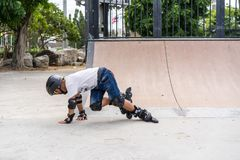 Επαρχία Chonburi, Ταϊλάνδη - 30 Ιουλίου 2018: Αγόρι που ασκεί inl Στοκ φωτογραφία με δικαίωμα ελεύθερης χρήσης
