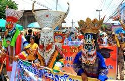 Επαρχία Loei, Ταϊλάνδη 28.2014 Ιουνίου: Τα μη αναγνωρισμένα άτομα φορούν το κοστούμι φαντασμάτων στην παρέλαση Phi TA Khon ή το φ Στοκ Εικόνες