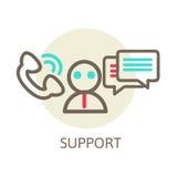 Επαφή κασκών οδηγίες ζωντανές μπλε λευκό κειμένων υποστήριξης προσώπων εικονιδίων ανασκόπησης διάνυσμα Στοκ εικόνα με δικαίωμα ελεύθερης χρήσης