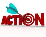 Επείγουσα ανάγκη του Word ταύρος-ματιών στόχων δράσης να ενεργήσει τώρα διανυσματική απεικόνιση