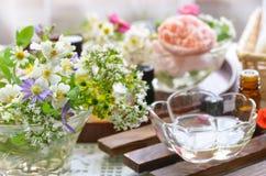 Επεξεργασία Aromatherapy με τα λουλούδια κήπων Στοκ εικόνες με δικαίωμα ελεύθερης χρήσης