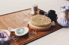Επεξεργασία SPA, aromatherapy τοπ υπόβαθρο άποψης Λεπτομέρειες και εξαρτήματα Στοκ Εικόνες