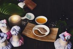 Επεξεργασία SPA, aromatherapy υπόβαθρο Λεπτομέρειες και εξαρτήματα Στοκ φωτογραφία με δικαίωμα ελεύθερης χρήσης