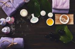 Επεξεργασία SPA, aromatherapy υπόβαθρο Λεπτομέρειες και εξαρτήματα Στοκ εικόνες με δικαίωμα ελεύθερης χρήσης