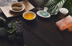 Επεξεργασία SPA, aromatherapy υπόβαθρο Λεπτομέρειες και εξαρτήματα Στοκ Εικόνες