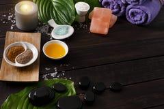 Επεξεργασία SPA, aromatherapy υπόβαθρο Λεπτομέρειες και εξαρτήματα Στοκ εικόνα με δικαίωμα ελεύθερης χρήσης