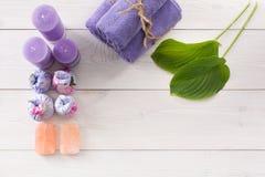 Επεξεργασία SPA, aromatherapy υπόβαθρο Λεπτομέρειες και εξαρτήματα Στοκ Φωτογραφία