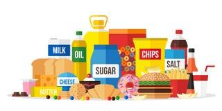 Επεξεργασμένη απεικόνιση τροφίμων Κατανάλωση Unhealty διανυσματική απεικόνιση
