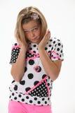 Επερώτηση του έκπληκτου νέου κοριτσιού Στοκ Εικόνες