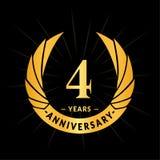 4 επετείου έτη προτύπων σχεδίου Κομψό σχέδιο λογότυπων επετείου Τέσσερα έτη λογότυπων ελεύθερη απεικόνιση δικαιώματος