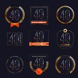 40 επετείου έτη συνόλου λογότυπων Στοκ Εικόνα