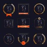 10 επετείου έτη συνόλου λογότυπων Στοκ φωτογραφία με δικαίωμα ελεύθερης χρήσης