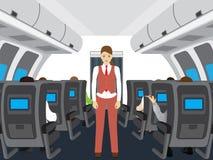 Επιβάτες και αεροσυνοδός στο αεροπλάνο Στοκ Εικόνα