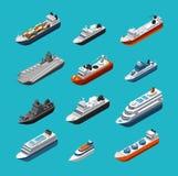 Επιβάτης και φορτηγά πλοία, πλέοντας εικονίδια μεταφορών βαρκών, γιοτ και σκαφών isometric διανυσματικά που απομονώνονται απεικόνιση αποθεμάτων