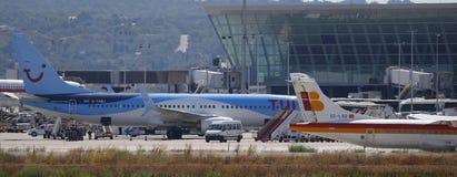 Επιβατηγά αεροσκάφη που σταθμεύουν στον αερολιμένα palma de Μαγιόρκα ευρέως στοκ εικόνες με δικαίωμα ελεύθερης χρήσης