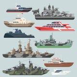 Επιβατηγά πλοία και θωρηκτά Υποβρύχιος καταστροφέας στη θάλασσα Διανυσματικές απεικονίσεις βαρκών νερού στο επίπεδο ύφος διανυσματική απεικόνιση