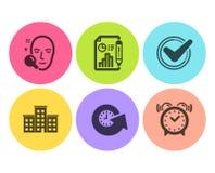 Επιβεβαιωμένα, εικονίδια αναζήτησης επιχείρησης και προσώπου καθορισμένα Έγγραφο εκθέσεων, χρόνος αναπροσαρμογών και σημάδια ξυπν διανυσματική απεικόνιση