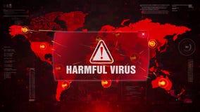 Επιβλαβής επίθεση προειδοποίησης ιών άγρυπνη στον παγκόσμιο χάρτη οθόνης ελεύθερη απεικόνιση δικαιώματος