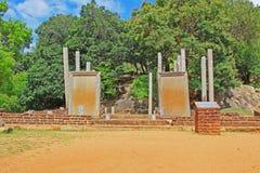Επιγραφές πλακών Mihintale Anuradhapura, παγκόσμια κληρονομιά της ΟΥΝΕΣΚΟ της Σρι Λάνκα Στοκ Εικόνες