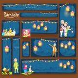 Επιγραφή ή έμβλημα ιστοχώρου για τον εορτασμό Ramadan Kareem διανυσματική απεικόνιση